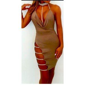 Women's Brown Open Back Bling Cowl Dress Sz S